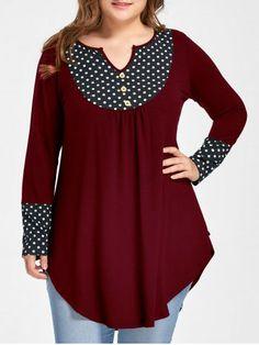 99f95d9b941 Plus Size Vintage Polka Dot Patchwork Tunic Asymmetrical Top Autumn 2017 Long  Sleeve Loose Blouse Shirt Women Clothes