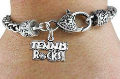 Tennis Rocks Bracelet  - Silver Bracelet w Silver Charm & Lobster Clasp