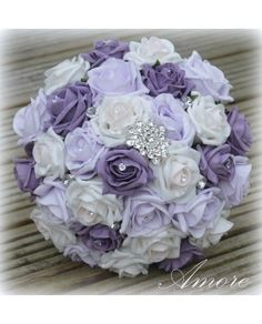wedding,flowers,white,lilac,lavender,rose,brooch, diomonte,bridal,bouquet,bouquets,artificial, posy