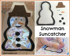 Snowman Suncatcher_ also done on contact paper