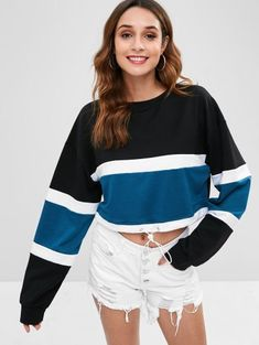 307b8a9245 [54% OFF] 2019 Crop Color Block Drop Shoulder Sweatshirt In MULTI S