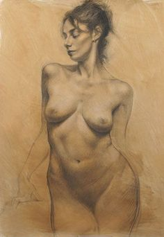"""Like a Bird"" by Kamille Corry, charcoal and conté on paper (standing frontal nude female torso) #NSFW"