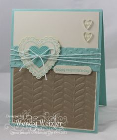 hand made card ... luv the aqua, cream and chocolate ... rich textures ...sweet die cut heart ... nice wrapping with baker's twine ... Stampin' Up!