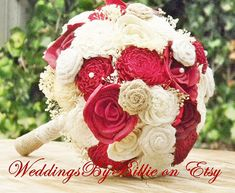 Hey, I found this really awesome Etsy listing at https://www.etsy.com/listing/241370102/fall-bouquets-burlap-lace-red-sola