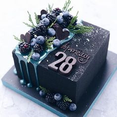 black square birthday cake Decoration Craft Gallery Ideas] Related posts:celestial wedding cakeUploaded fileLearn how to make gelatin bubbles in this CUTE gelatin balloon cake decorating v. Beautiful Birthday Cakes, Beautiful Cakes, Amazing Cakes, Food Cakes, Cupcake Cakes, Book Cupcakes, Square Birthday Cake, Cake Birthday, Birthday Cake Designs