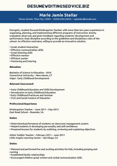kindergarten teacher resume sample