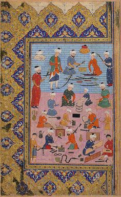 An Arms Workshop کارگاه ساخت سلاح، برگی از نسخه خطی، اواسط قرن 16 میلادی An Arms Workshop Object Name: Folio from an illustrated manuscript Date: mid-16th century Geography: Iran Culture: Iranian Medium: Ink, opaque watercolor, and gold on paper Dimensions: 12 1/2 x 7 11/16in. (31.7 x 19.5cm) Dimensions of painting: 7 9/16 x 5 3/16in. (19.2 x 13.2cm)