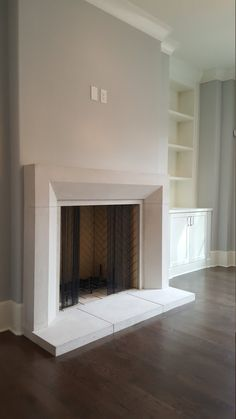 Made to order to any dimension. CAST STONE Fireplace Mantel This mantel can be made in several sizes Color: natural limestone color, can also be made in GREY (Concrete color) Dimensions: customized to your dimensions/firebox/room Material: cast stone (crashed limestone and other