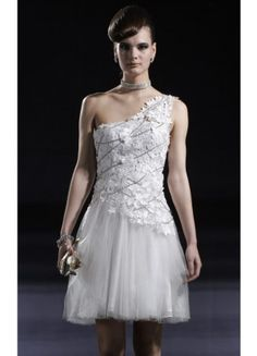Modern A-line Short One Shoulder Sleeveless Tulle Party Dresses - Wedding Dresses