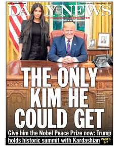 """""""The only Kim he could get!"""" He only gets the best people! Clearly she's the expert that POTUS should consult on prison reform! What Makes You Laugh, Make You Smile, Nobel Peace Prize, New York Daily News, Us Politics, Light In The Dark, Kardashian, Donald Trump, Jokes"""