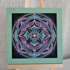 Energy Mandala Hand Painted Dotted Cosmos Melody Mandala on Canvas inches. Mandala Canvas, Mandala Dots, Mandala Painting, Dot Painting, Painting Patterns, Mandala Design, Painted Rocks, Hand Painted, Zentangle Patterns