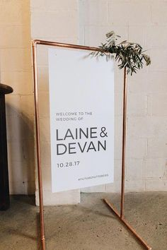 Copper Frame to be used for signage. 4 feet tall by 2 feet wide. Welcome sign Wedding Themes, Wedding Tips, Dream Wedding, Wedding Day, Modern Wedding Decorations, Wedding Designs, Elegant Wedding, Wedding Table, Ceremony Decorations