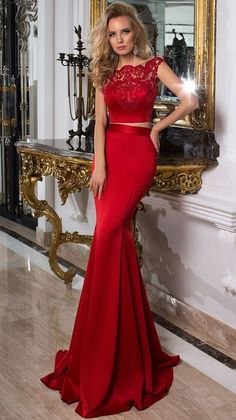 On Sale Glorious Lace Prom Dress Trumpet Cap-Sleeve Scoop-Neck Floor-Length Lace Satin Prom Dress Tight Prom Dresses, Prom Dresses Two Piece, Prom Dresses 2016, Formal Dresses, Dress Prom, Dress Long, Party Dresses, Lace Dresses, Dress Piece