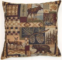 Northwoods Decorative Pillow by Creative Home Furnishings.  Available in 17 x 17 or 26 x 26 sizes from Kellsson Home Linens.