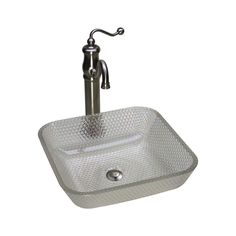 JSG Oceana 005-016-300 Glass Square Cubix Vessel Sink - Crystal Reflections - Wave Plumbing