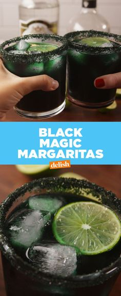 Magic Margaritas These Black Magic Margaritas will bring out your inner witch. Get the recipe at .These Black Magic Margaritas will bring out your inner witch. Get the recipe at . Halloween Cocktails, Soirée Halloween, Halloween Food For Party, Halloween Treats, Halloween Drinking Games, Witch Party, Thanksgiving Cocktails, Spooky Treats, Holiday Drinks