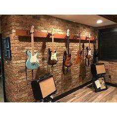 Used Brick- Faux brick wall panels – Fauxstonesheets Faux Brick Wall Panels, Brick Wall Paneling, Brick Walls, Home Music Rooms, Music Studio Room, Guitar Wall, Guitar Room, Brick Projects, Deco Studio