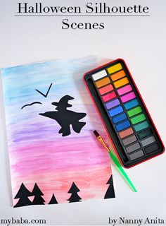These Halloween silhouette scenes are a fun, quiet, and creative craft for older children. Halloween Cookie Cutters, Halloween Cookies, Halloween Crafts, Halloween Silhouettes, Arts And Crafts, Paper Crafts, Paper Glue, Black Paper, Sensory Play