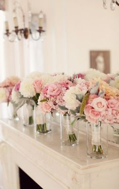 Light pink hydrangeas with flowers