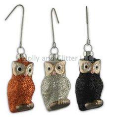 halloween ornaments | Halloween Glittered Owl Ornaments, Set Of 3, Bethany Lowe, Free ...