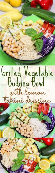 Vegan Grilled Vegetable Buddha Bowl with Homemade Lemon Tahini Dressing.  A clean eating, healthy and gluten free recipe that great for lunches or dinners. The perfect healthy meals idea with a tasty sauce. With brown rice, but you can sub any grain like quinoa.  Also vegetarian & dairy free. / Running in a Skirt