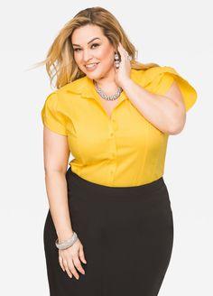 Mustard Tulip Sleeve Button Shirt, broad smile, long honey hair, waisted charcoal sheath skirt