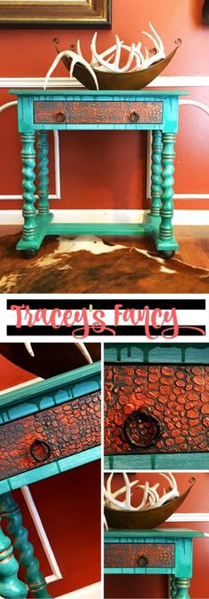 Rustic Glam Crocodile Finish Furniture - Traceys Fancy - Using Heirloom Tradition's Alexandrite. Copper Mine and Raised Stencil Faux Finish. Tutorial on How to do a Raised Stencil and Drip Paint Effect