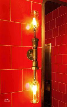 Vanity Lamp. Beer bottles, Plumbing pipe & fittings. Vanity light. Wall lamp. Bathroom Vanity Lighting Fixture