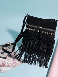 c89e57e3d7 JR Vintage Fringe Rivet Satchel Crossbody Bag with Tassels