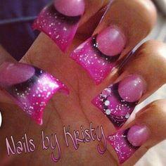 Hot pink glitter black airbrush simple wide tip curved c cut acrylic nails by Kristy pureplatinumsalonandspa pureplatinumsalon.net