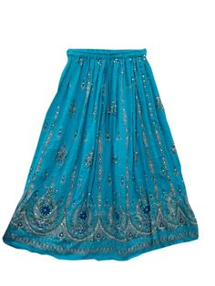 Sequin Lehenga Print Skirt Sequin Blue Floral Design Ankle Bell Tie String