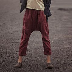 ★Product details   A special type of a saggy pants From comfort type or pants are good With bamboo hemp Very simple sense Spring wear breathable Like