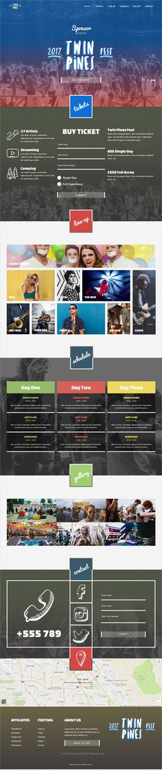 Twin pines is clean and modern design responsive #Adobe #Muse template for a #concert, #music festival or any other events website download now..