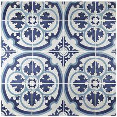 Merola Tile Cemento Queen Mary Sky in. Cement Handmade Floor and Wall Tile Bathroom Floor Tiles, Wall Tiles, Tile Floor, Home Depot, Tile Projects, Thing 1, Handmade Tiles, Stone Tiles, Cement Tiles