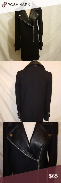 """Zara Women Wool Blend Coat EUC! Wool blend and Faux Leather Coat Black with Silver Hardware, two actual pockets one faux pocket. Measures 31"""" Long x 24"""" Sleeve x 35"""" Bust Zara Jackets & Coats Pea Coats"""