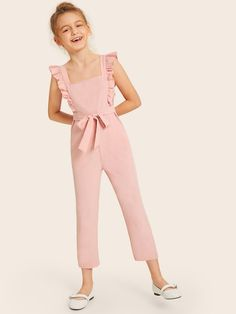 SHEIN Kiddie Pink Solid Square Neck Ruffle Trim Cute Jumpsuit With Belt 2019 Summer Sleeveless Zipper Back Children Jumpsuits - My best baby product list Kids Outfits Girls, Cute Girl Outfits, Little Girl Dresses, Girls Dresses, Girls Fashion Clothes, Women's Fashion Dresses, Kids Fashion, Jumpsuit For Kids, Jumpsuits For Girls