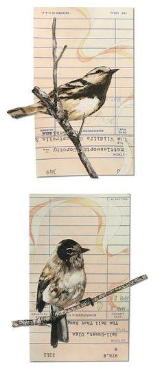 birds + library book cards