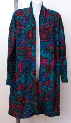 Vintage Long Cardigan// Patterned Cardigan by LucysJungle on Etsy, $20.00