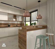 Aranżacja kuchni i salonu w domu jednorodzinnym - Średnia otwarta kuchnia w kształcie litery u z wyspą, styl nowoczesny - zdjęcie od Atelier Art&Design