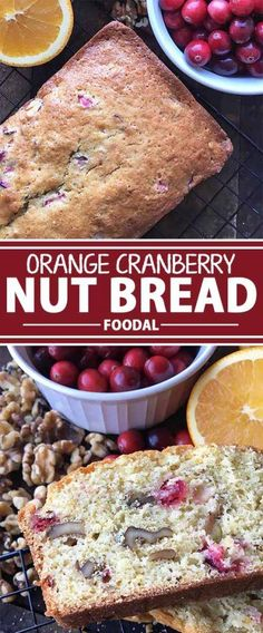 A delicious combination of sweet and tart, our homemade orange cranberry nut bread is the perfect treat to give as gifts during the holiday season. Flavored with orange juice and mixed with fresh cranberries and walnuts, you might as well attach the recip Croissants, Fun Desserts, Dessert Recipes, Fruit Recipes, Holiday Desserts, Muffin Recipes, Scones, Cranberry Nut Bread, Cranberry Recipes