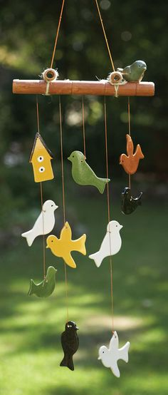 Ceramic Birds Windchime - Tearcraft  could i make this from saltdough like Christmas oranments?