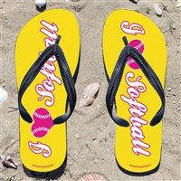 I Heart Softball on Yellow Flip Flops - Kick back after a softball game with these great flip flops! Fun and functional flip flops for all softball players and fans.