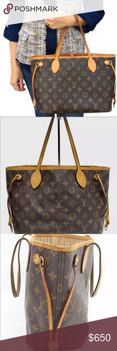 Authentic Louis Vuitton Neverfull Pm Beautiful authentic Louis Vuitton Neverfull Pm in great pre owned condition, very Nice & spacious has some wear throughout, please see all pictures, bag is in very good condition. leather straps have some wear, no rips or tears or stains on canvas, leather has been conditioned and cleaned, interior is clean. Smoke free, Handles are well attached and leather is not falling apart, honey colored leather trim with some darkening around top of the strap. Strap…