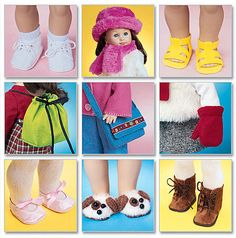 AMERICAN DOLL Sewing Pattern ~ Dolls Shoes Purses Hats Boots & More ~ LAST ONE!