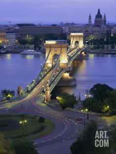Chain Bridge Over the River Danube and St. Stephens Basilica, Budapest, Hungary, Europe Photographic Print by Gavin Hellier at Art.com