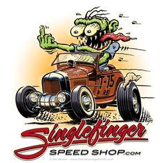 """""""Singlefinger Speed Shop"""" T-shirt artwork full colour #hotrod #hot #rod #Ford #ModelA #roadster #monster #artwork #Tshirt #design"""