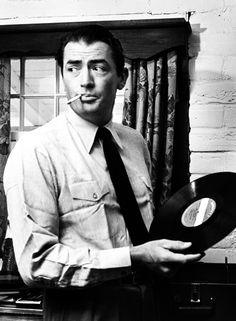 Gregory Peck spinning vinyl