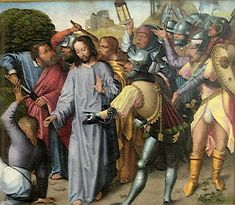 Jesus healing the ear of a servant during his arrest, Museu de Évora, Portugal, c. 1500. #145 Healing the ear of a servant (type: miracle, Luke 22:49–51)