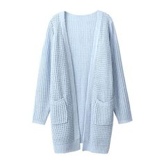 Plain Long Sleeve Tunic Cardigan with Double Pocket Front ($27) ❤ liked on Polyvore featuring tops, cardigans, outerwear, sweaters, jackets, cardigan top, long sleeve cardigan, blue long sleeve top, long sleeve tops and blue top