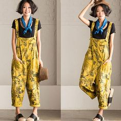 Women loose yellow floral printing cotton jumpsuits with pockets pants